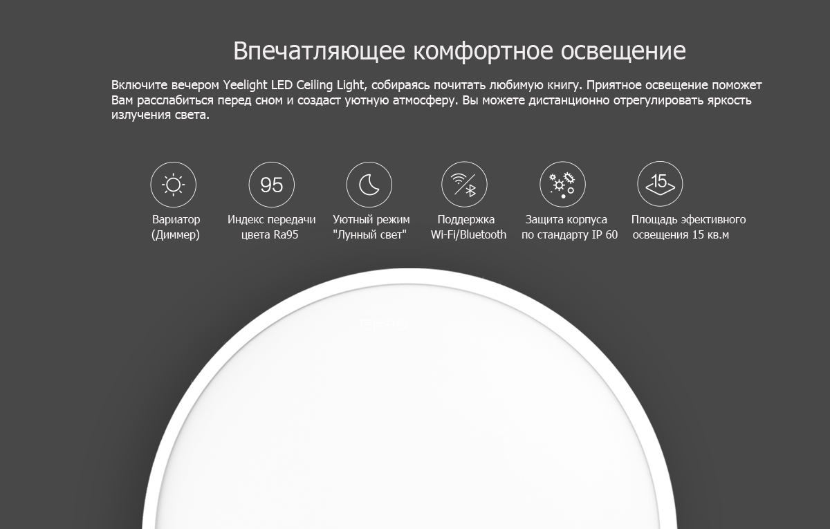 Yeelight LED Ceiling Light особенности